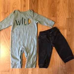 Old Navy and Carter's long sleeve onesie & jeans